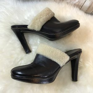 Coach Kacie sz 7 leather shearling mules